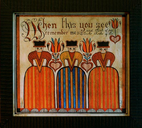 Fraktur - Three Ladies  American Folk Art, Collectible, Affordable Art