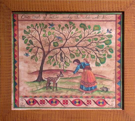 Fraktur -Touch of Nature American Folk Art, Collectible, Affordable Art