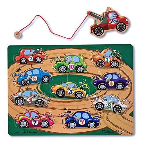 Melissa and Doug Magnetic Tow Truck Game -Wooden and crafted by Hand [Home Decor]- Olde Church Emporium