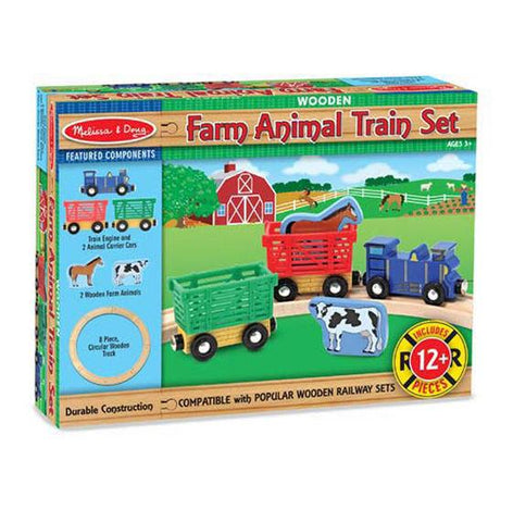 Melissa & Doug Wooden Farm Animal Train Set 12 pieces