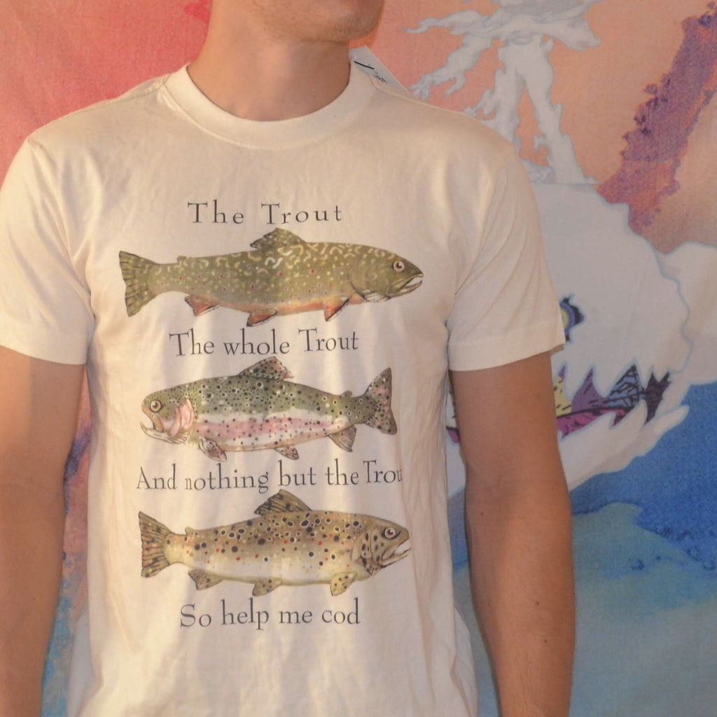Hatley The Trout, The Whole Trout T Shirt Small Size Cream Color Unisex - Olde Church Emporium