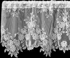 Heritage Lace - Tea Rose Collection - Curtains and Tabletop Accessories in White and Ecru - Olde Church Emporium