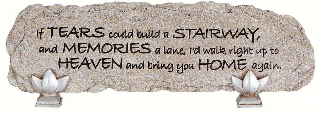 "Carson Home Accents ""Tears"" Heart Notes Stone Bar Desktop Sign - Olde Church Emporium"