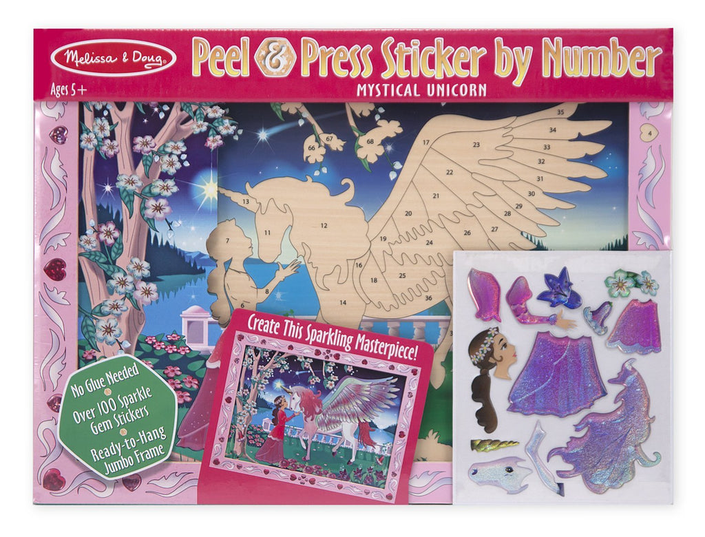 Melissa & Doug- Peel and Press Sticker by Number Kit Mystical Unicorn - 100+ Stickers, Jumbo Frame [Home Decor]- Olde Church Emporium