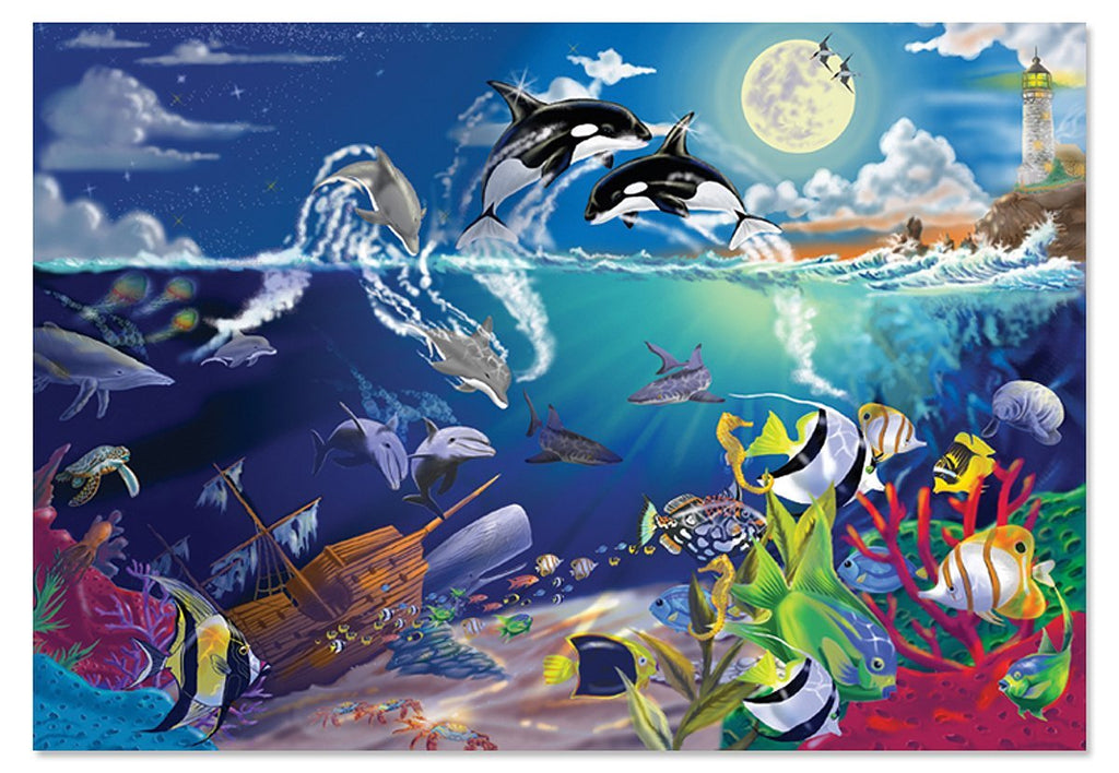 Melissa & Doug Underwater Playground Jigsaw Puzzle, 200-Piece Ages 8+ [Home Decor]- Olde Church Emporium