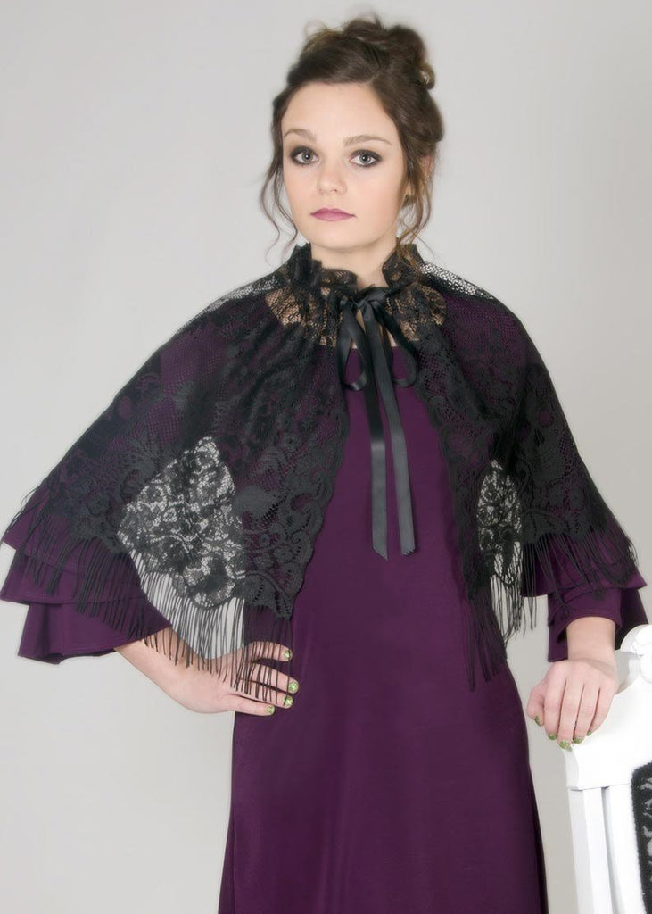 Heritage Victorian Halloween Capelet/Overskirt 58 x 21 Inches Black - Olde Church Emporium