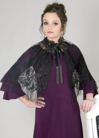 Heritage Victorian Halloween Capelet/Overskirt 58 x 21 Inches Black