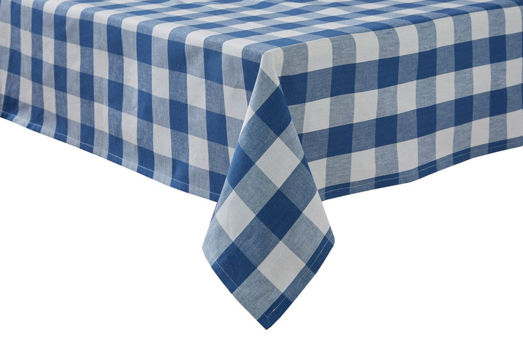 Park Design Wicklow Check Square Table Cloth China Blue 54 x 54 Inches Farmhouse Country