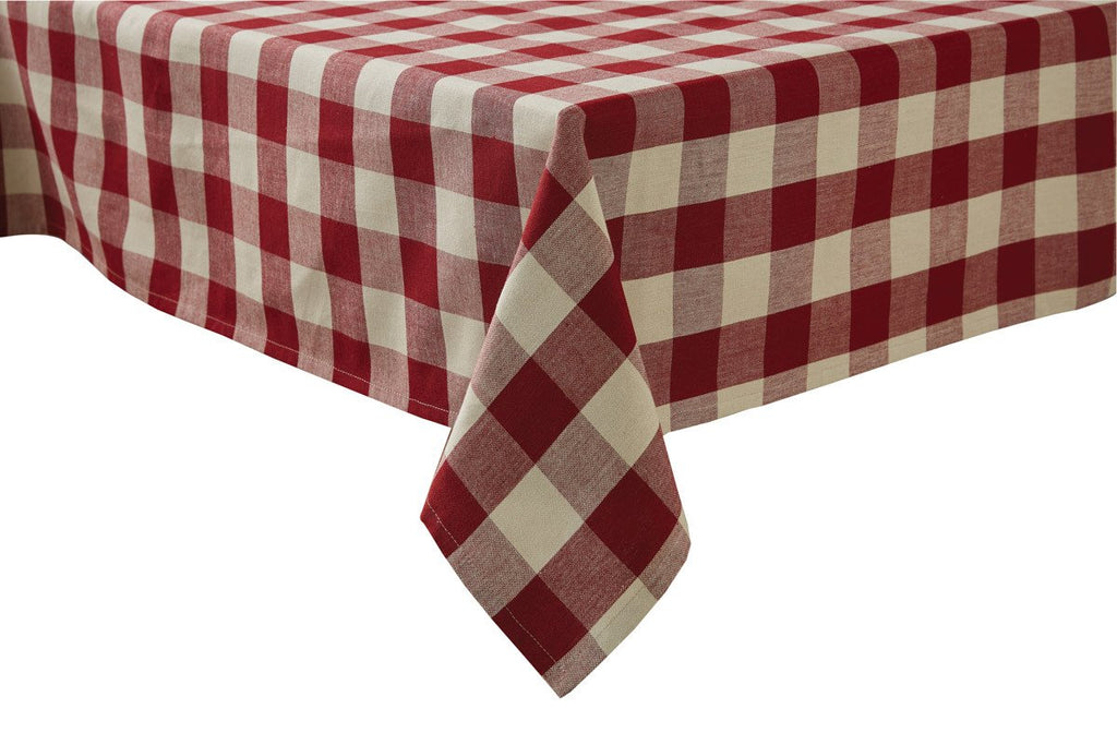Park Design Wicklow Check Square Table Cloth Garnet 54 x 54 Inches Farmhouse Country - Olde Church Emporium