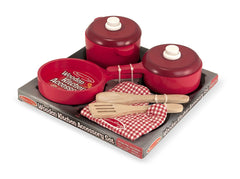 Melissa & Doug - Deluxe Wooden Pretend Play Kitchen Accessory Set - Pots & Pans (8 pcs) - Olde Church Emporium