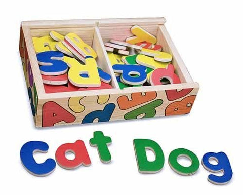 Melissa & Doug - 52 Wooden Alphabet Magnets in a Box Uppercase and Lowercase Letters