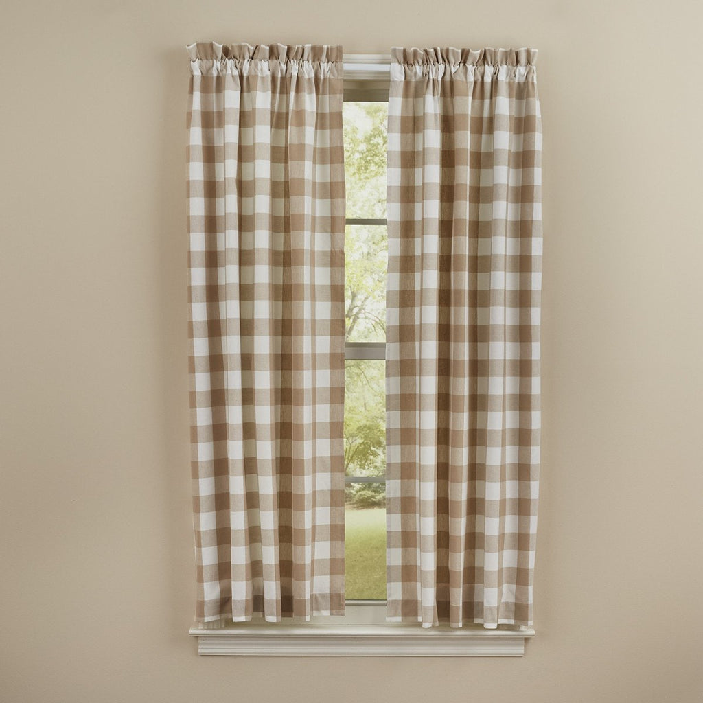 Park Designs - Wicklow Check Panels Pair Natural - 72 x 63 Inches Unlined Farmhouse Country - Olde Church Emporium