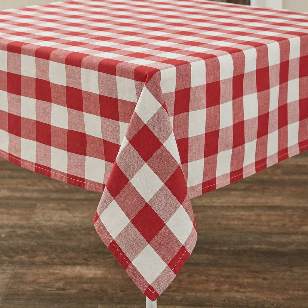 Park Design Wicklow Check Square Table Cloth Red and Cream 54 x 54 Inches Farmhouse Country