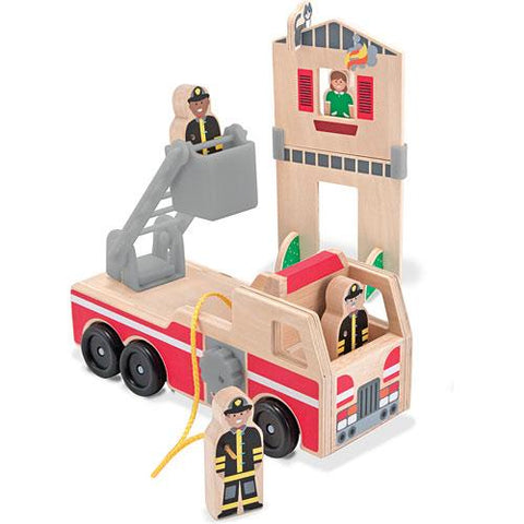 Melissa and Doug Whittle World Wooden Fire Rescue Set 7 Pieces