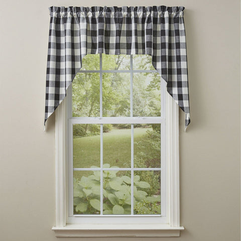 "Park Design Wicklow Check Swag Black and Cream- 36"" x 72""  - Farmhouse, Country"