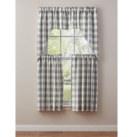 "Park Design Wicklow Check Swag Dove - 36"" x 72""  - Farmhouse, Country"
