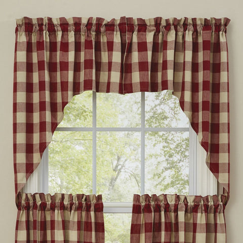 "Park Design Wicklow Check Swag Garnet - 36"" x 72""  - Farmhouse, Country"