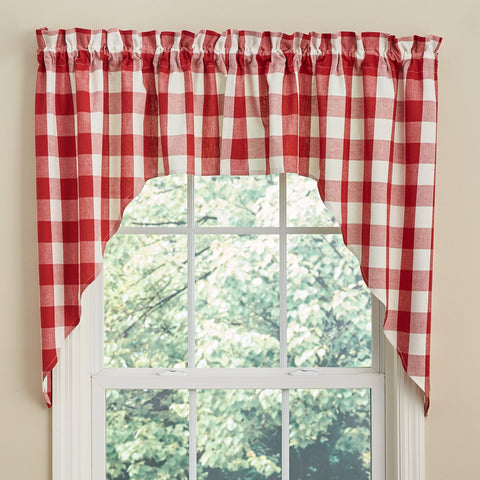 "Park Design Wicklow Check Swag Red and Cream  - 36"" x 72""  - Farmhouse, Country"