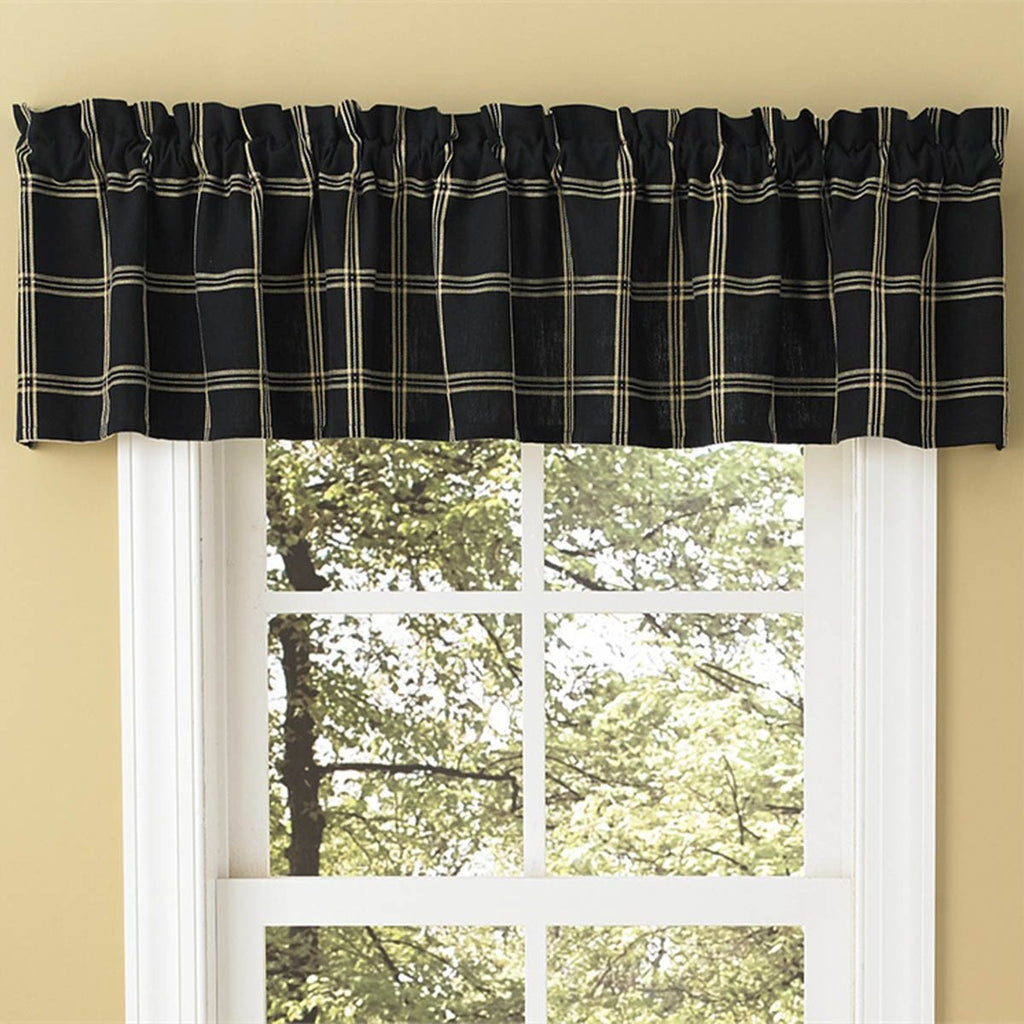 Park Designs Windsor Star Indigo Navy Plaid Valance lined Cotton Country 72 X 14 Inches - Olde Church Emporium