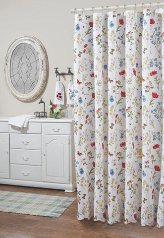Park Designs Wildflower Scalloped Shower Curtain, 72 by 72 Inches Free Shipping