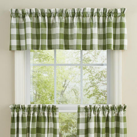 Park Design Wicklow Sage and White Check unlined window Valance by Park Design 72 x 14 inches