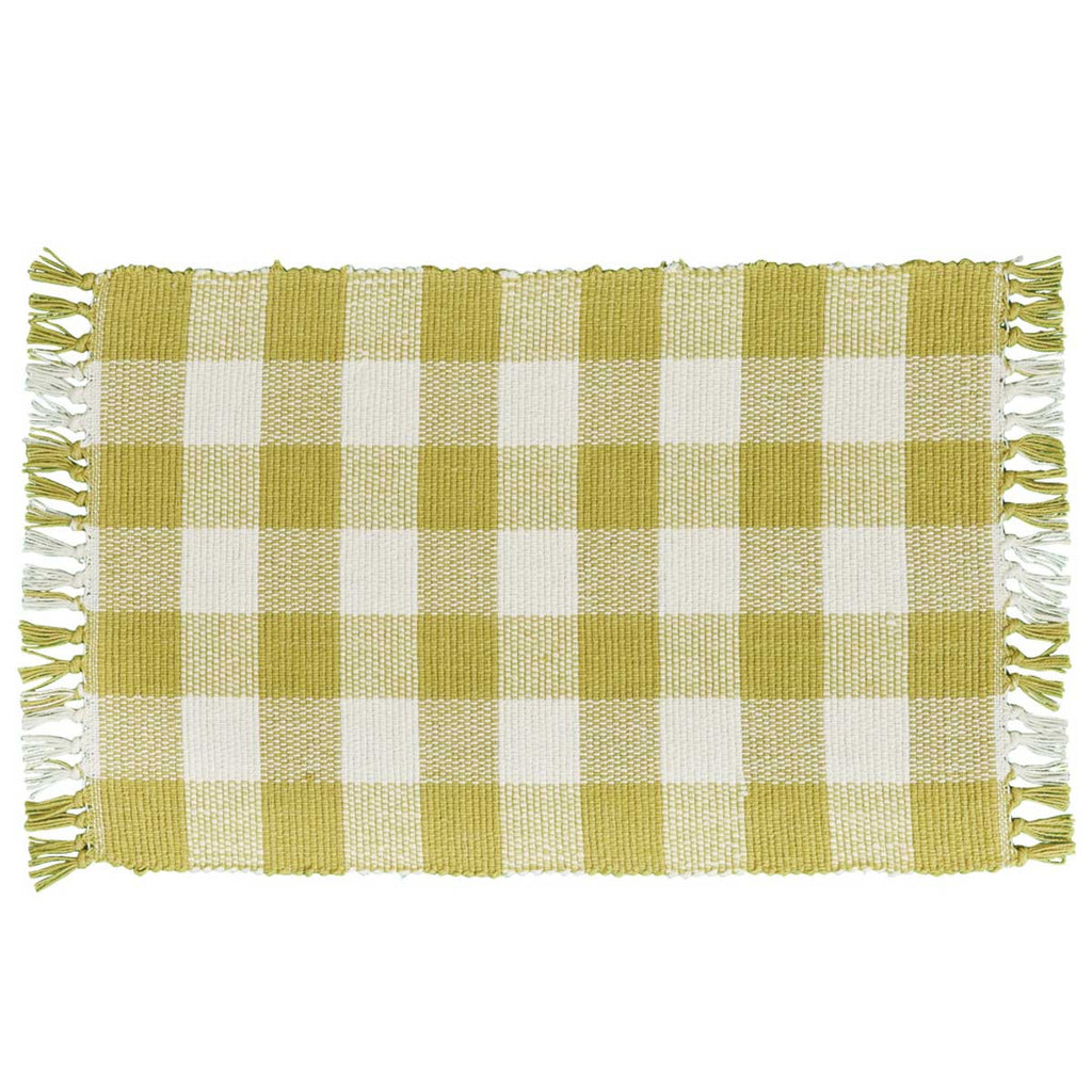 Park Design Wicklow Yarn Aloe Buffalo Check Placemats 13 x 19 Inches