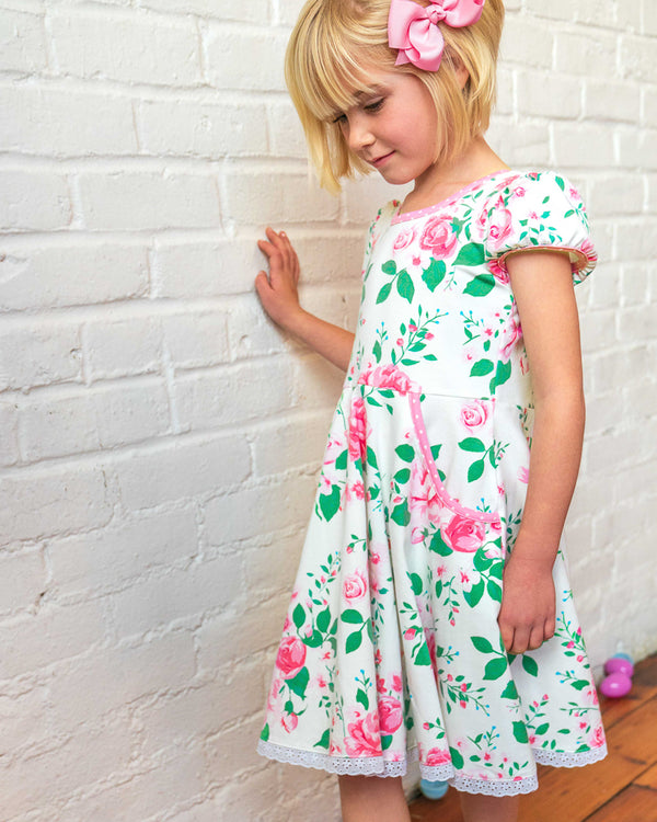 Easter Blooms White Hadley Dress