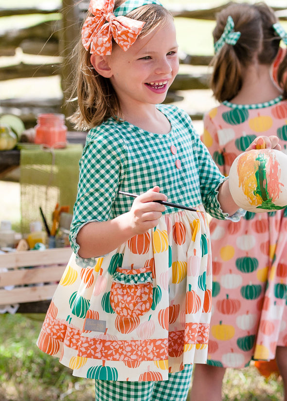 Pumpkin and Green Check Rhonda Top