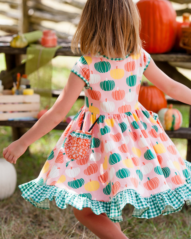 Pumpkin Knit Short Sleeve Dress