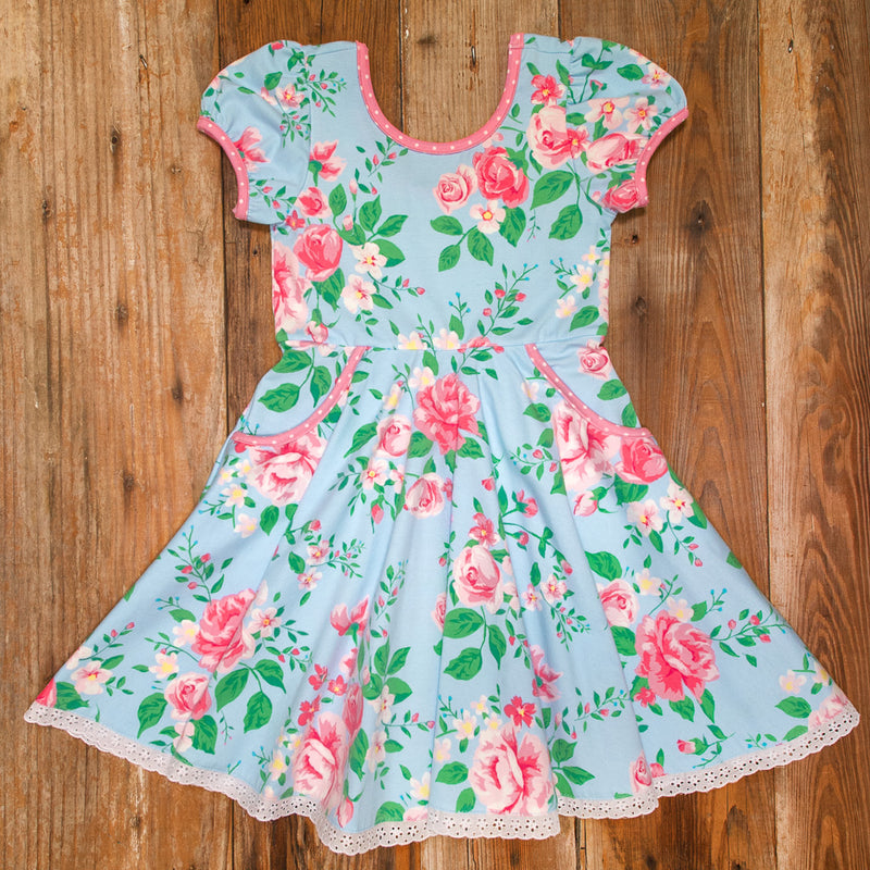 Easter Blooms Blue Hadley Dress