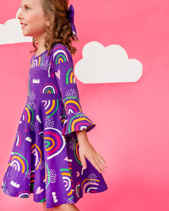 Purple Knit Rainbow Dress