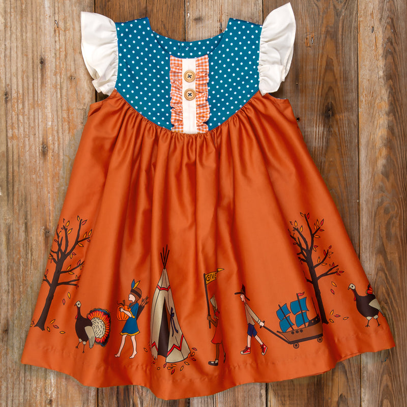 Thanksgiving Day Parade Gigi Orange Parade Dress