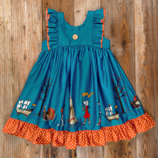 Thanksgiving Day Parade Lacey Blue Parade Dress