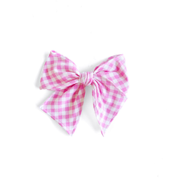 Pink Gingham Knit Sonni Bow