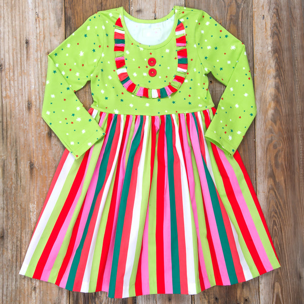 Christmas Tree Rhonda Stripe Dress