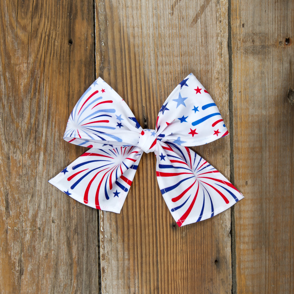Star-Spangled Fireworks White Sonni Bow