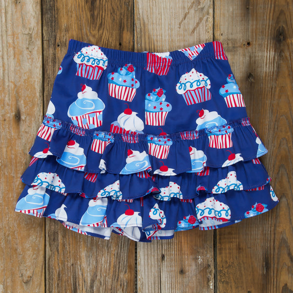 Star-Spangled Cupcakes Callie Ruffle Shorties