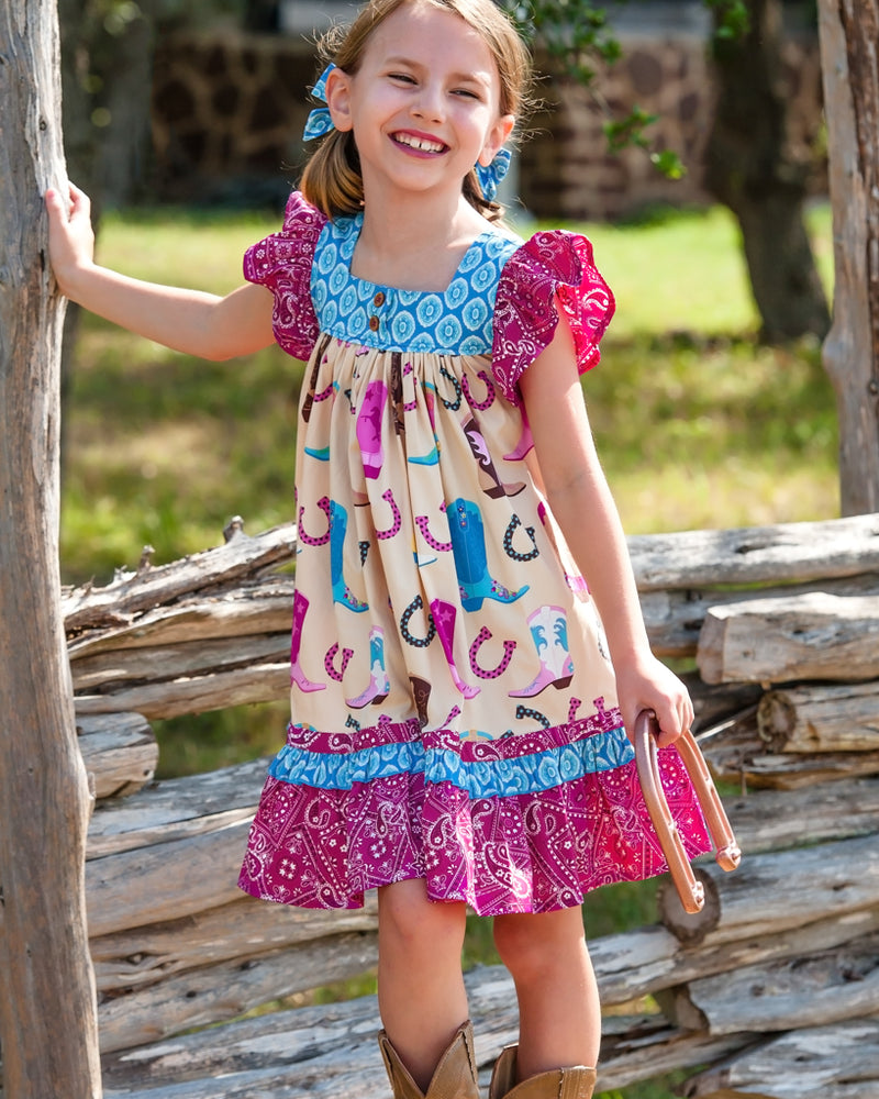 Boots and Bandana Woven Dress