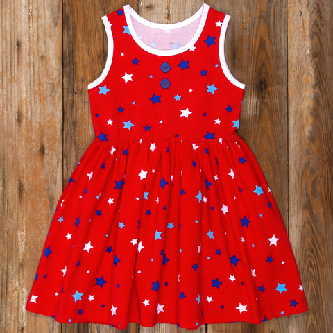 American Celebration Surprise Rhonda All Knit Red Stars Dress