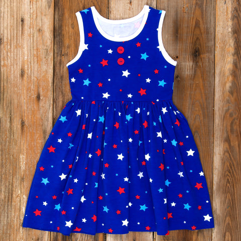 American Celebration Surprise Rhonda All Knit Blue Stars Dress