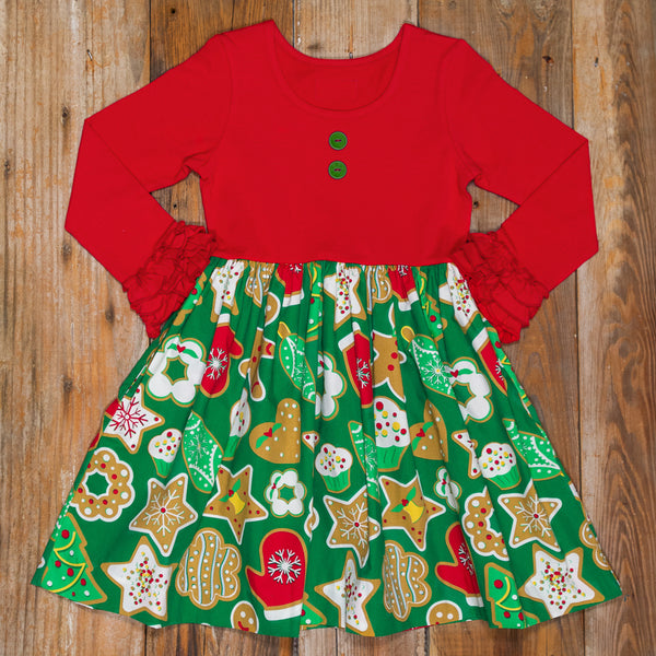 Christmas Countdown Rhonda Bright Red Cookie Dress
