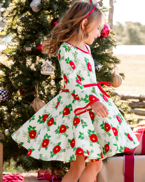 Christmas Roses Ruby All-Knit Dress