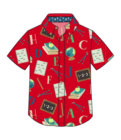 Schoolyard Fun James School Print Camp Shirt