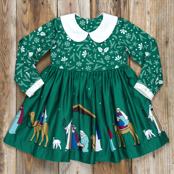 Silent Night Paisley Green Dress