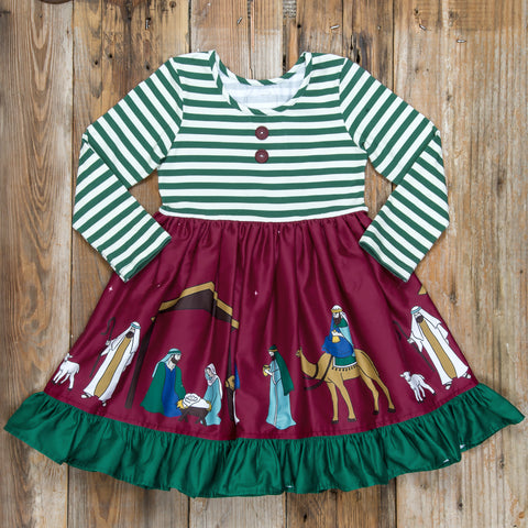 Silent Night Green Stripe Rhonda Dress