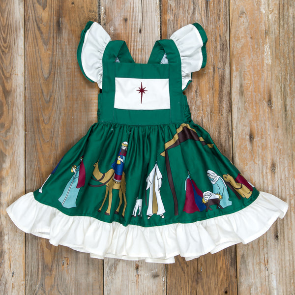 Silent Night Gracie Green Embroidered Dress