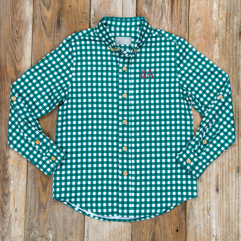 Silent Night James Green Check Button Down