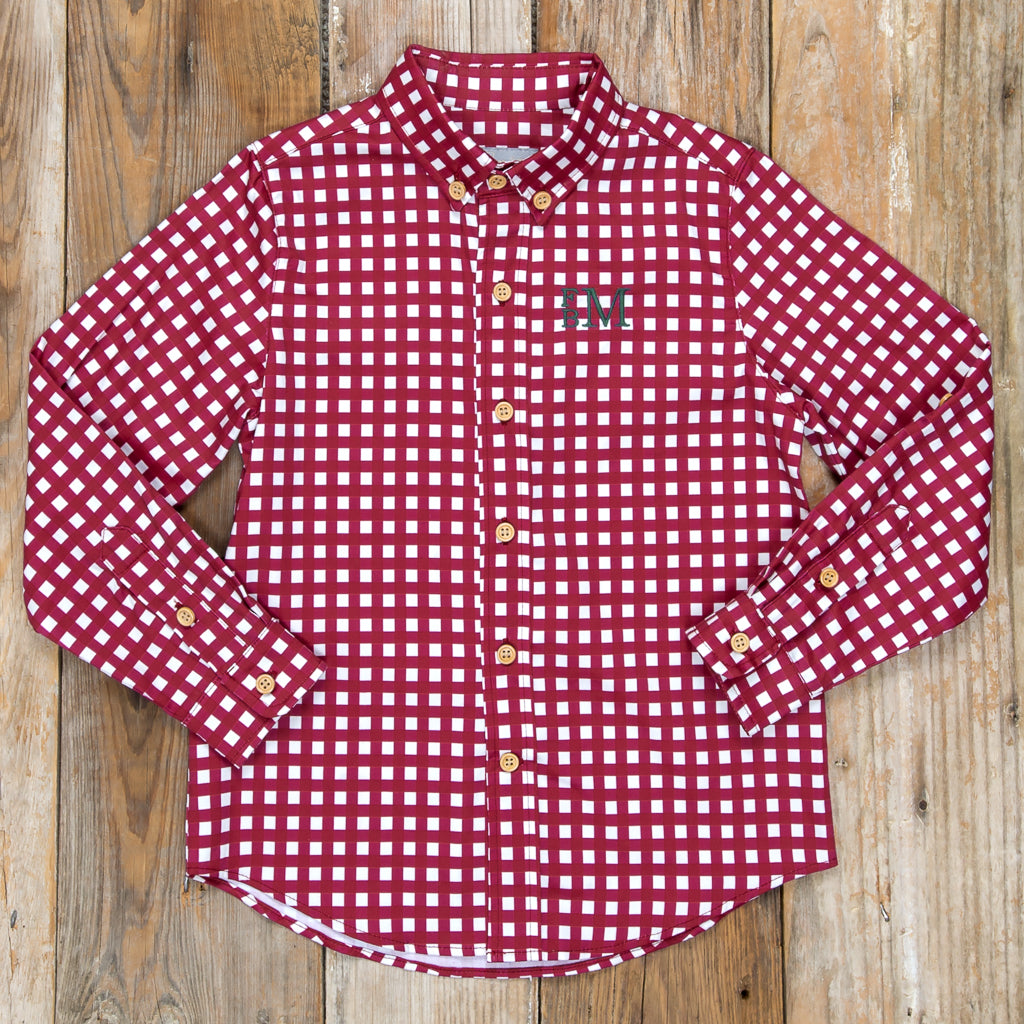Silent Night James Cranberry Check Button Down