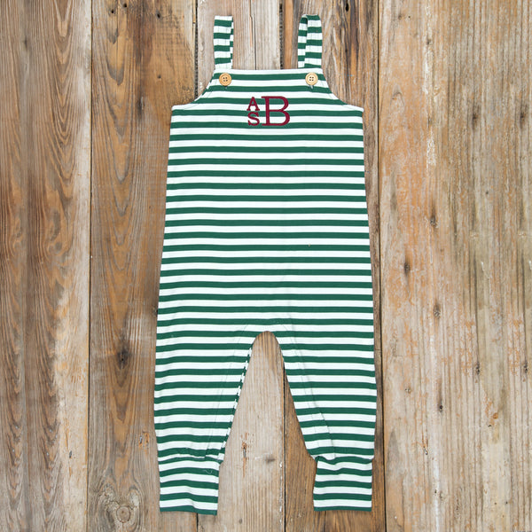 Silent Night Henry Green Stripe Romper