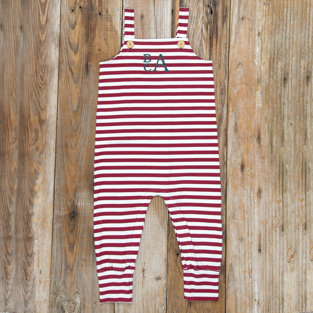 Silent Night Henry Cranberry Stripe Romper